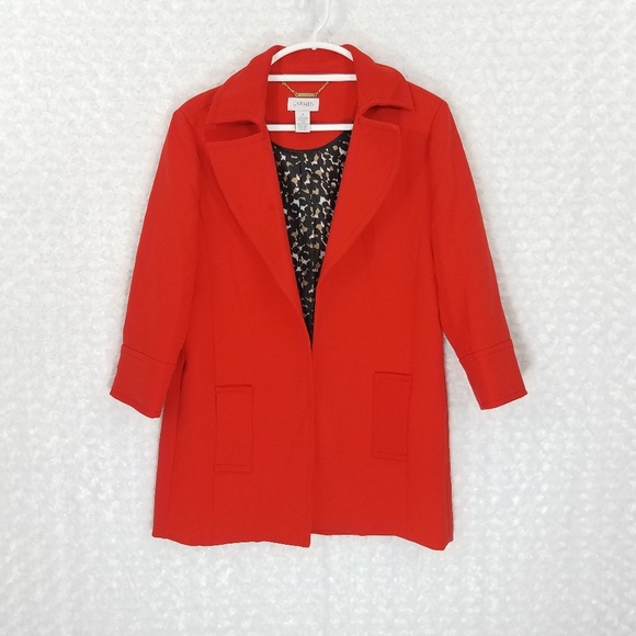 Carmen Marc Valvo Jackets & Blazers - CARMEN MARC VALVO Red/Orange Long Coat